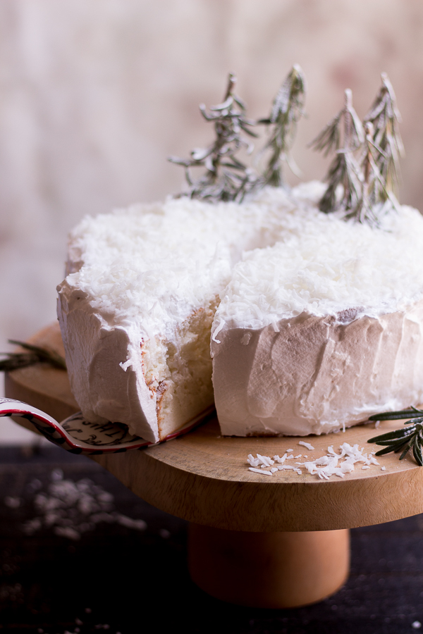 Winter Wonderland Coconut Angel Food Layer Cake